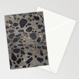 Terrazzo - Mosaic - Wooden texture and gold #1 Stationery Cards