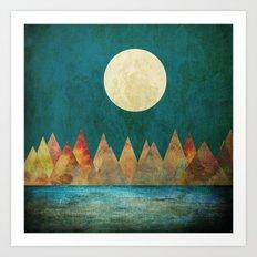 Still Waters Run Deep, Mountains Moon Landscape Art Print