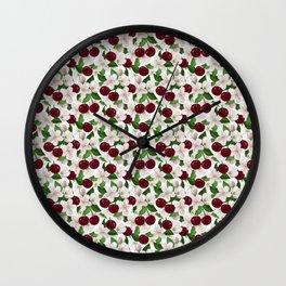 Blush pink burgundy cherries blossom floral pattern Wall Clock