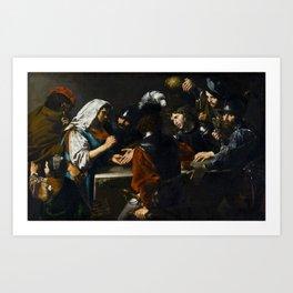 Valentin de Boulogne - Fortune Teller - Renaissance Fine Art Retro Vintage Oil Painting Art Print