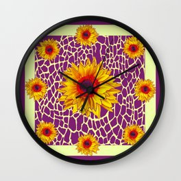 Deco Yellow-Red Sunflowers Puce Geometric Art Wall Clock