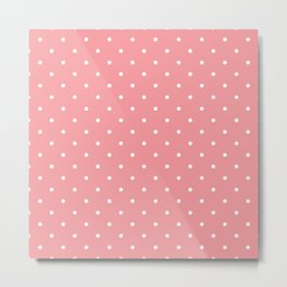 White Dots with Coral Pink Background Metal Print