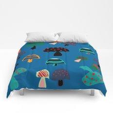 Cute Mushroom Blue Comforters