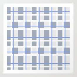 Retro Abstract Plaid Blue and Gray Art Print