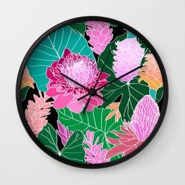 Tropical Botanical Pond in Black Wall Clock