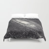 astronomy Duvet Covers featuring Vintage Astronomy-Nebula M31 Andromeda by lacelace
