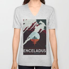 Retro Space Poster -enceladus Unisex V-Neck