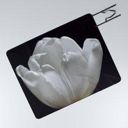 White Tulip On Black Picnic Blanket