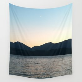 Sunset and Crescent Moon over the Water Wall Tapestry
