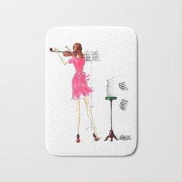 The Violin Player - Fashion Illustration Bath Mat