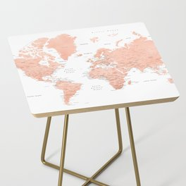 """Rose gold world map with cities, """"Hadi"""" Side Table"""
