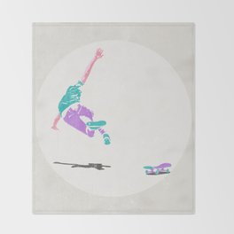 skateboarding 2 (lost time, risograph) Throw Blanket