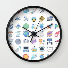 CUTE OUTER SPACE / SCIENCE / GALAXY PATTERN Wall Clock