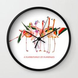 A Flamboyance of Flamingos Wall Clock