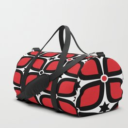 Mid Century Modern 4 Leaf Clover - Black, White, Red Duffle Bag