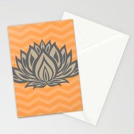 Lotus Meditation Orange Throw Pillow Stationery Cards