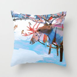 Reindeers and friends Throw Pillow