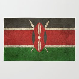 Old and Worn Distressed Vintage Flag of Kenya Rug