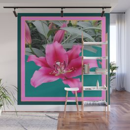 FUCHSIA PINK LILY TEAL ARTWORK Wall Mural