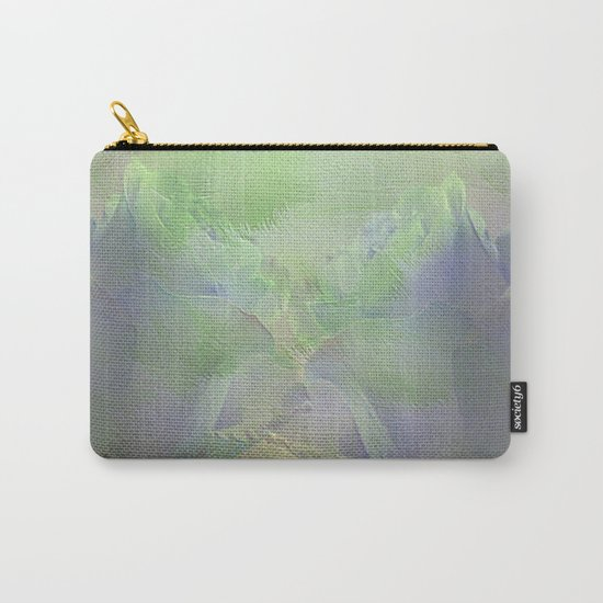 Painterly Mint Green and Lavender Roses Abstract Carry-All Pouch