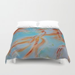 GoldFish Bubbles 1ne watercolor by CheyAnne Sexton Duvet Cover