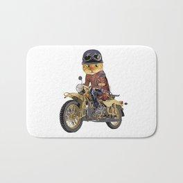 Cat riding motorcycle Bath Mat