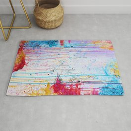 HAPPY TEARS Bright Cheerful Abstract Acrylic Painting, Drip Splat Bold Pink Red Purple Spring Art Rug