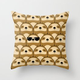Sloth Army Throw Pillow