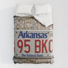 Arkansas License Plate over Crackling Paint Auto Tag Photograph Comforters