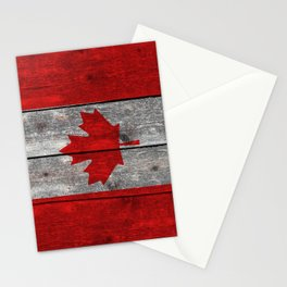 Canada flag on heavily textured woodgrain Stationery Cards