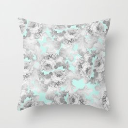 Vintage black white teal stylish chic roses floral Throw Pillow