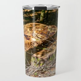 Tree Stump of cut down Tree in the Forest (orange/brown) Travel Mug