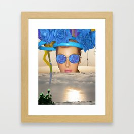 Submision 101 - Artificial Connection: blue roses with green. Framed Art Print