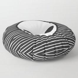 Alien on Black and White stripes Floor Pillow