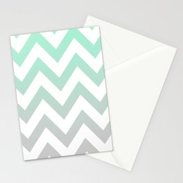 MINT GRAY CHEVRON FADE Stationery Cards