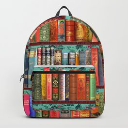 Vintage Books / Christmas bookshelf & holly wallpaper / holidays, holly, bookworm,  bibliophile Backpack
