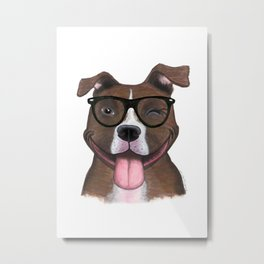 Hipster Pit Bull Metal Print