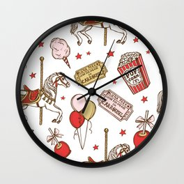 carnival on white bg Wall Clock
