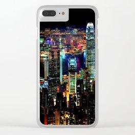 Hong Kong City Skyine Black Night Clear iPhone Case