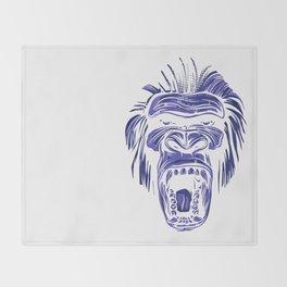 GORILLA KING KONG - Blue Throw Blanket