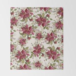 Poinsettia Pattern Throw Blanket