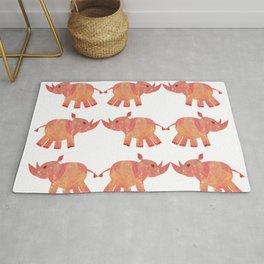 pink and orange psychadelic rhino pattern Rug