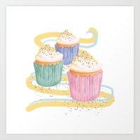 sprinkles Art Prints featuring Sprinkles by Hayley Bowerman Design