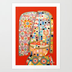 Girl with the flower in hair Art Print