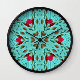 Aqua Art Dec Kaleidoscope Wall Clock