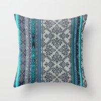 Throw Pillows featuring Teal, Aqua & Grey Vintage Bohemian Wallpaper Stripes by micklyn
