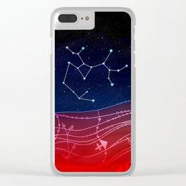 Sagittarius Zodiac Constellation Design Clear iPhone Case