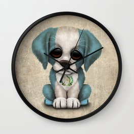 Cute Puppy Dog with flag of Guatemala Wall Clock