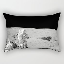 Apollo 14 - Black & White Moon Work Rectangular Pillow