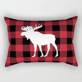 Red Buffalo Plaid Moose Rectangular Pillow